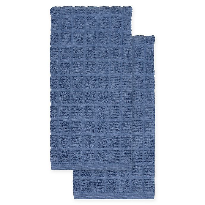 Alternate image 1 for KitchenSmart® Colors 2-Pack Solid Kitchen Towels in French Blue