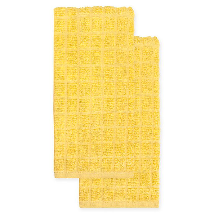 Alternate image 1 for KitchenSmart® Colors 2-Pack Solid Kitchen Towels in Daffodil
