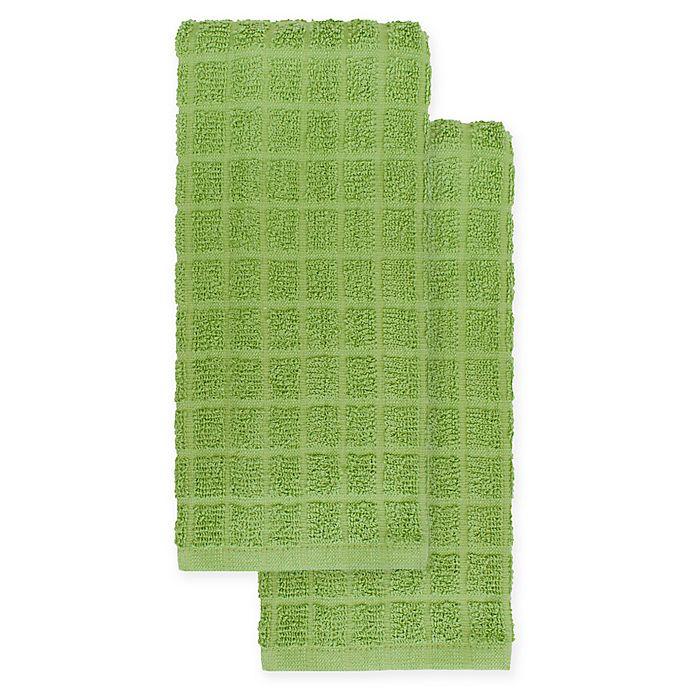 Alternate image 1 for KitchenSmart® Colors 2-Pack Solid Kitchen Towels in Stem