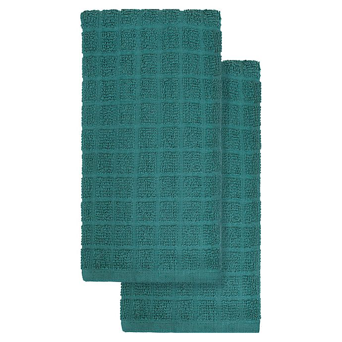 Alternate image 1 for KitchenSmart® Colors 2-Pack Solid Kitchen Towels in Atlantic