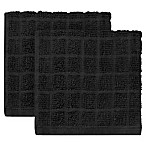 KitchenSmart® Colors 2-Pack Solid Windowpane Dish Cloth in Caviar