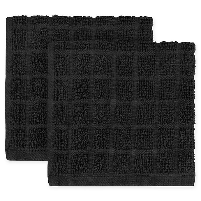 Alternate image 1 for KitchenSmart® Colors 2-Pack Solid Windowpane Dish Cloth in Caviar