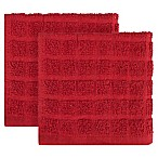 KitchenSmart® Colors 2-Pack Solid Windowpane Dish Cloth in Paprika