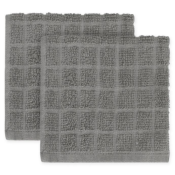 kitchensmart® colors 2-pack solid windowpane dish cloth   bed bath