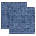 KitchenSmart® Colors 2-Pack Solid Windowpane Dish Cloth in French Blue