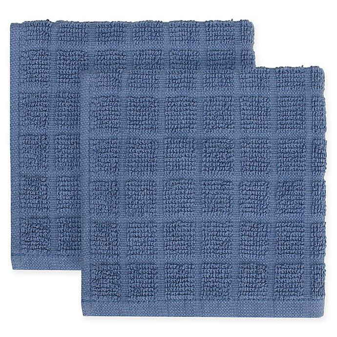 Alternate image 1 for KitchenSmart® Colors 2-Pack Solid Windowpane Dish Cloth in French Blue