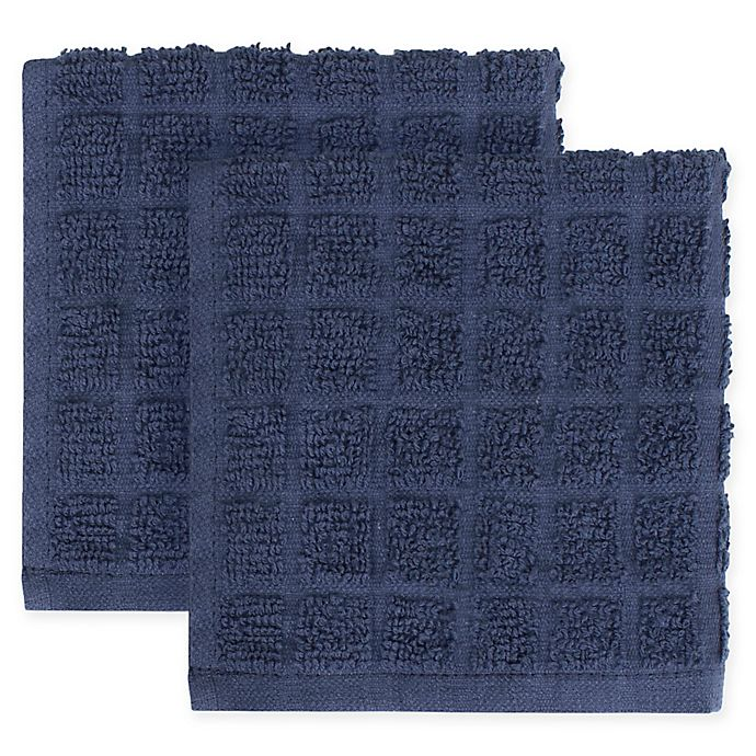 Alternate image 1 for KitchenSmart® Colors 2-Pack Solid Windowpane Dish Cloth in Navy