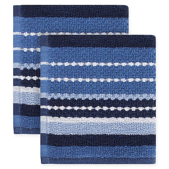 Alternate image 1 for KitchenSmart® Colors Multi Stripe 2-Pack Dish Cloths in French Blue/Navy