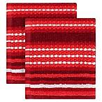 KitchenSmart® Colors Multi Stripe 2-Pack Dish Cloths in Paprika