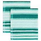 KitchenSmart® Colors Multi Stripe 2-Pack Dish Cloths in Surf/Atlantic