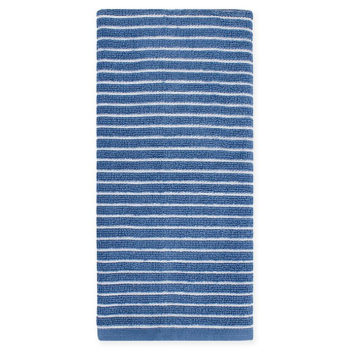 Alternate image 1 for KitchenSmart® Colors Horizontal Stripe Kitchen Towel in French Blue