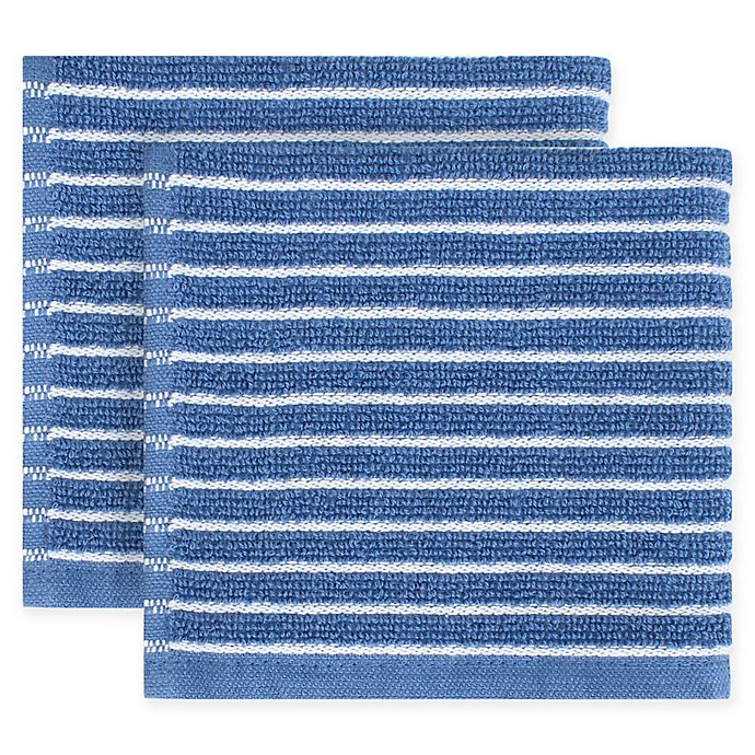 Alternate image 1 for KitchenSmart® Colors Horizontal Stripe 2-Pack Dish Cloths in French Blue