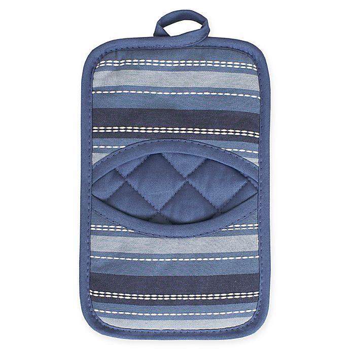 Alternate image 1 for KitchenSmart® Colors Multi Stripe Pocket Pot Mitt in French Blue/Navy
