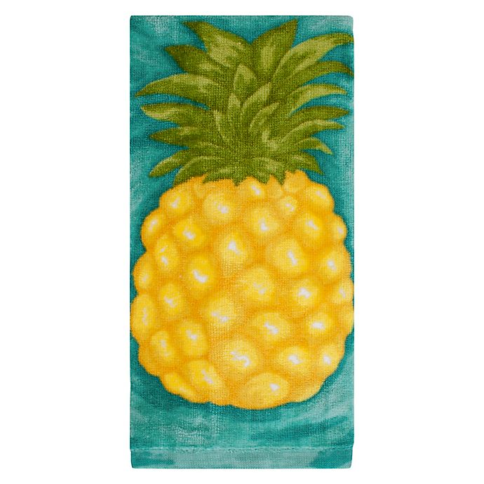 Alternate image 1 for KitchenSmart® Colors Painterly Pineapple Fiber Reactive Kitchen Towel in Atlantic