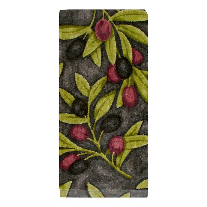 Alternate image 1 for KitchenSmart® Colors Painterly Olives Fiber Reactive Kitchen Towel in Grey