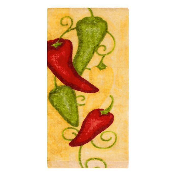 Alternate image 1 for KitchenSmart® Colors Painterly Chili Peppers Fiber Reactive Kitchen Towel in Daffodil