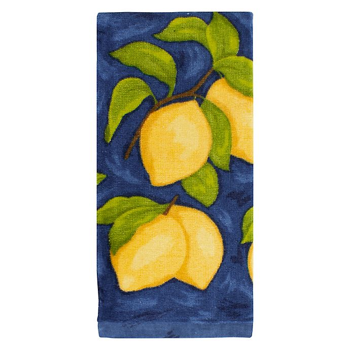 Alternate image 1 for KitchenSmart® Colors Painterly Lemons Fiber Reactive Kitchen Towel in Navy