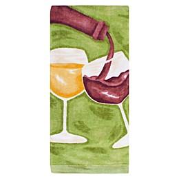 KitchenSmart® Colors Painterly Wine Glass Fiber Reactive Kitchen Towel in Stem