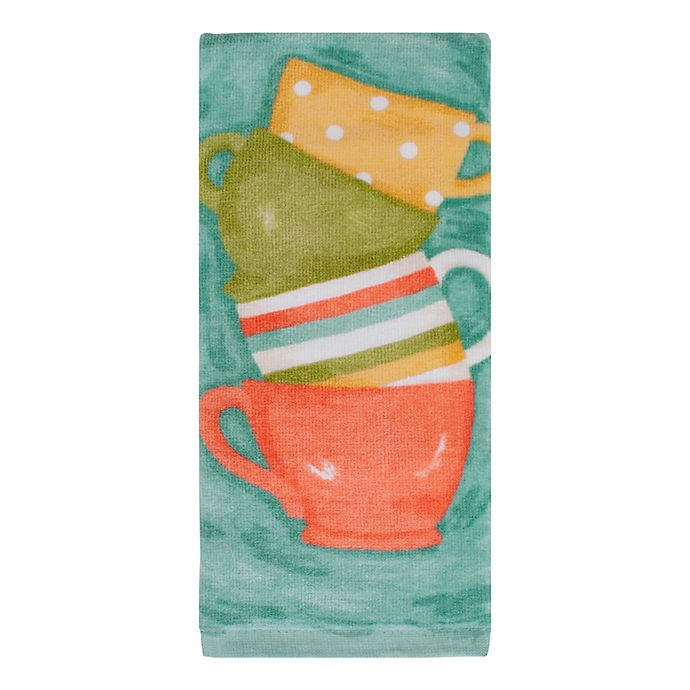 Alternate image 1 for KitchenSmart® Colors Painterly Tea Cups Fiber Reactive Kitchen Towel in Surf