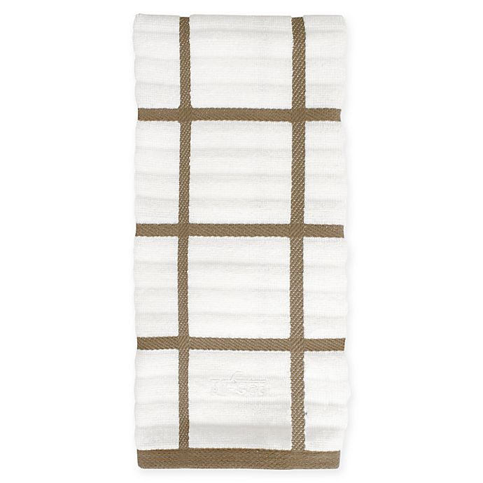 Alternate image 1 for All-Clad Plaid Kitchen Towel in Mushroom