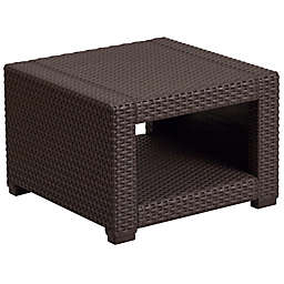 Flash Furniture Outdoor Faux Rattan End Table in Chocolate Brown