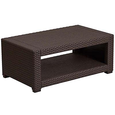 Flash Furniture Outdoor Faux Rattan Coffee Table in Chocolate Brown