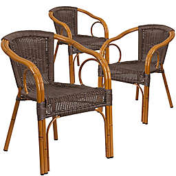 Flash Furniture Rattan Patio Chairs in Dark Brown with Red Frame (Set of 3)