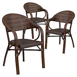 Flash Furniture Rattan Patio Chairs in Dark Brown (Set of 3)