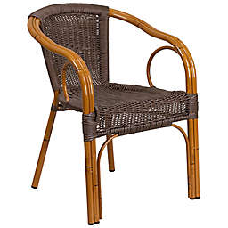 Flash Furniture 25.5-Inch Rattan Patio Chair in Dark Brown with Red Frame