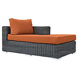 Modway Summon Outdoor Wicker Right Arm Facing Chaise Lounge in Tuscan Sunbrella® Canvas Fabric
