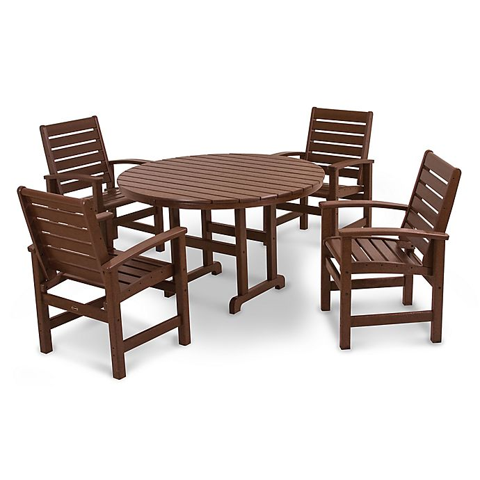 Alternate image 1 for POLYWOOD® Signature 5-Piece Outdoor Dining Set in Mahogany