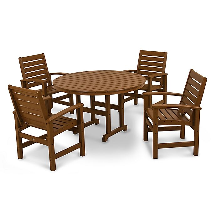 Alternate image 1 for POLYWOOD® Signature 5-Piece Outdoor Dining Set in Teak