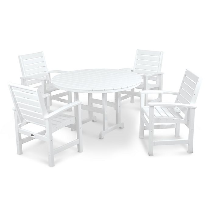 Alternate image 1 for POLYWOOD® Signature 5-Piece Outdoor Dining Set in White