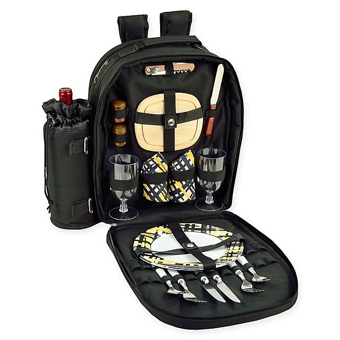 Alternate image 1 for Picnic at Ascot Trellis 2-Person Picnic Backpack in Black/Yellow