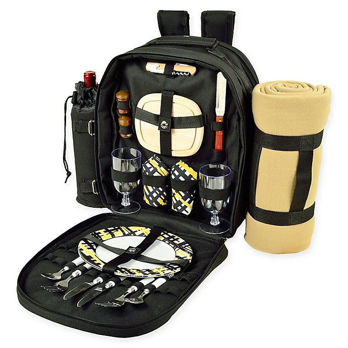 Alternate image 1 for Picnic at Ascot Trellis 2-Person Picnic Backpack with Blanket in Black/Yellow