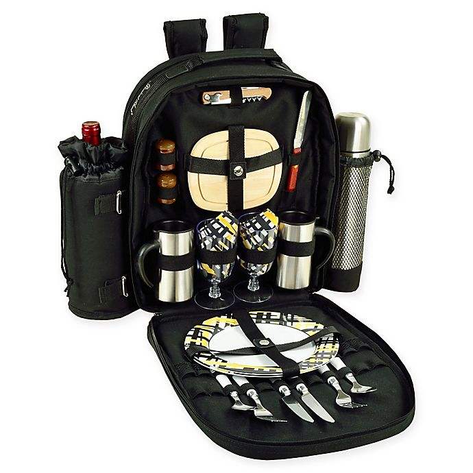 Alternate image 1 for Picnic At Ascot™ Bold Picnic and Coffee Backpack with Service For 2 in Black/Yellow