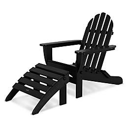 POLYWOOD® Classic 2-Piece Folding Adirondack Chair and Ottoman Set
