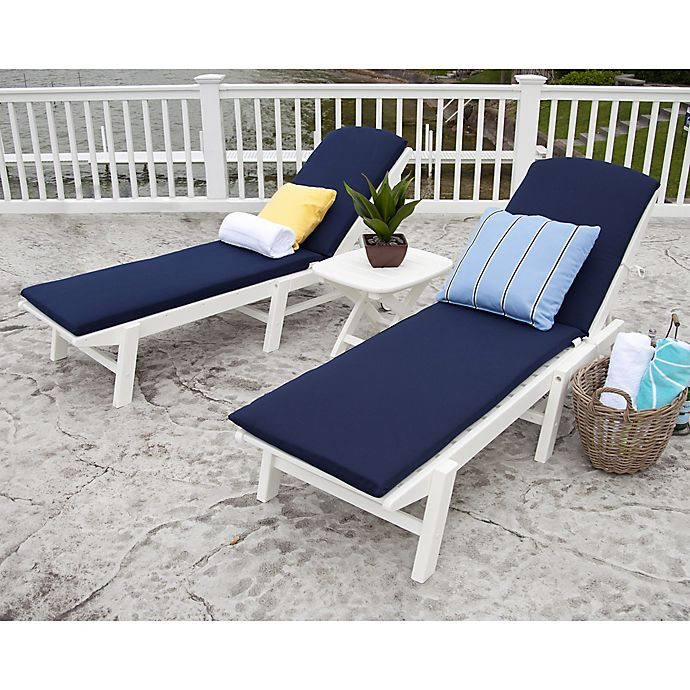 Alternate image 1 for POLYWOOD® Nautical 3-Piece Chaise Set with Cushions in White/Navy