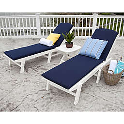 POLYWOOD® Nautical 3-Piece Chaise Set with Cushions in White/Navy