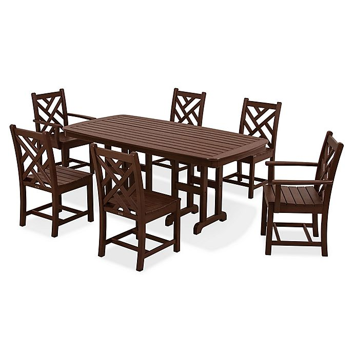 Alternate image 1 for POLYWOOD® Chippendale 7-Piece Outdoor Dining Set in Mahogany