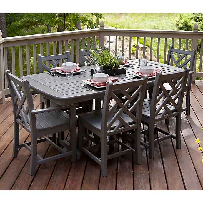 Alternate image 1 for POLYWOOD® Chippendale 7-Piece Outdoor Dining Set in Slate Grey