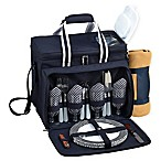 Picnic at Ascot 4-Person Picnic Cooler with Blanket in Navy/White
