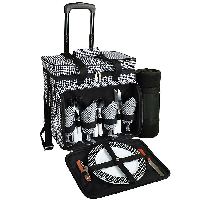 Alternate image 1 for Picnic at Ascot 4-Person Wheeled Picnic Cooler with Blanket in Black/White