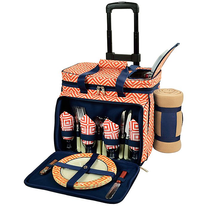 Alternate image 1 for Picnic at Ascot 4-Person Wheeled Picnic Cooler with Blanket in Orange/Navy