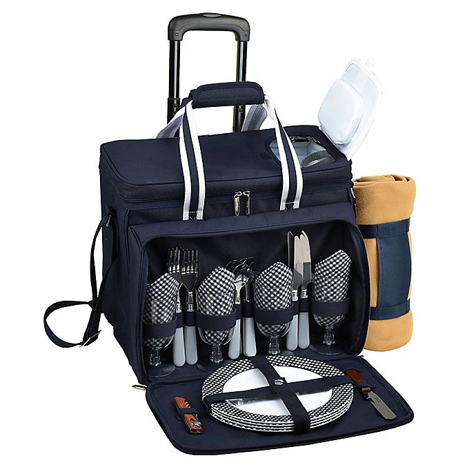 Alternate image 1 for Picnic at Ascot 4-Person Wheeled Picnic Cooler with Blanket in Navy/White