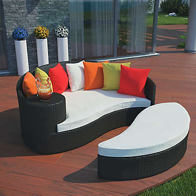 Modway Taiji Outdoor Wicker Circular Daybed in Espresso
