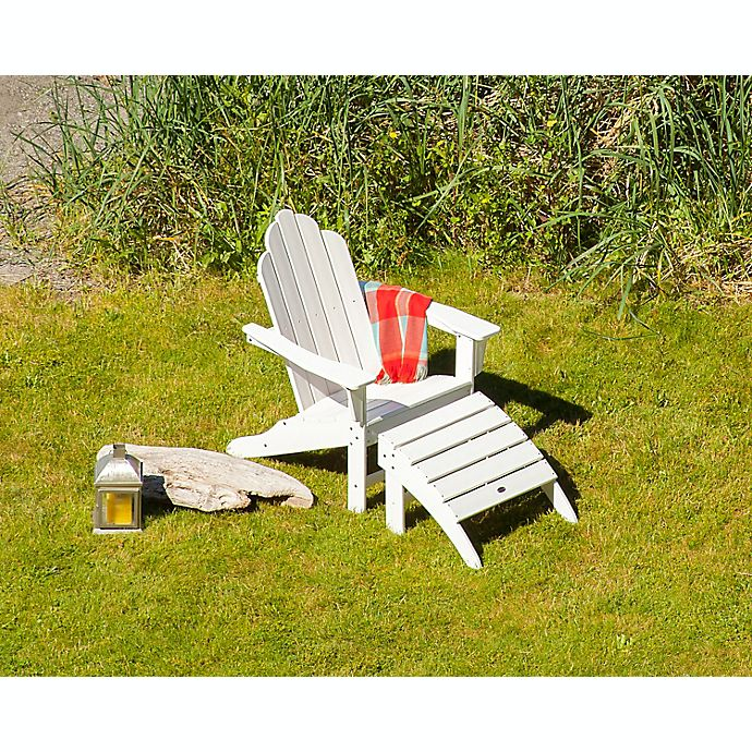 Polywood Long Island 2 Piece Outdoor Adirondack Chair Set In White
