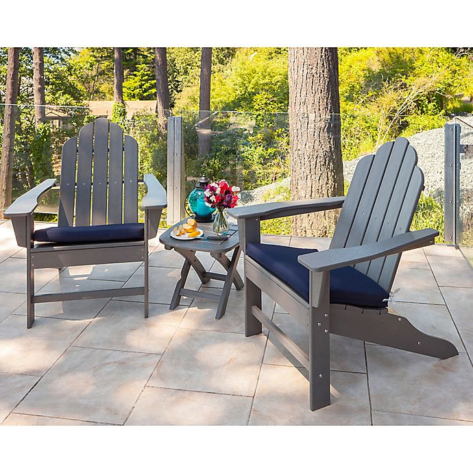 Polywood 174 Long Island 3 Piece Outdoor Adirondack Chair Set