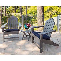 POLYWOOD® Long Island 3-Piece Outdoor Adirondack Chair Set in Grey