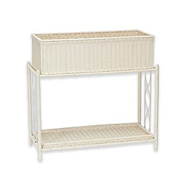 Household Essentials® Resin Wicker Plant Stand with Tray in White
